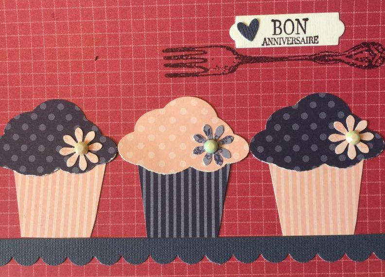 Lila-Rosa-Muffin-Geburtstagskarte